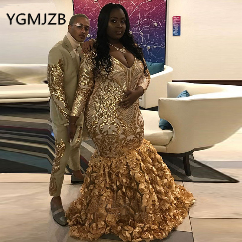 Plus Size Gold Sequin African Mermaid   Evening     Dresses   2019 V-Neck Long Sleeve Flowers Skirt Black Girl Formal Prom Party   Dress