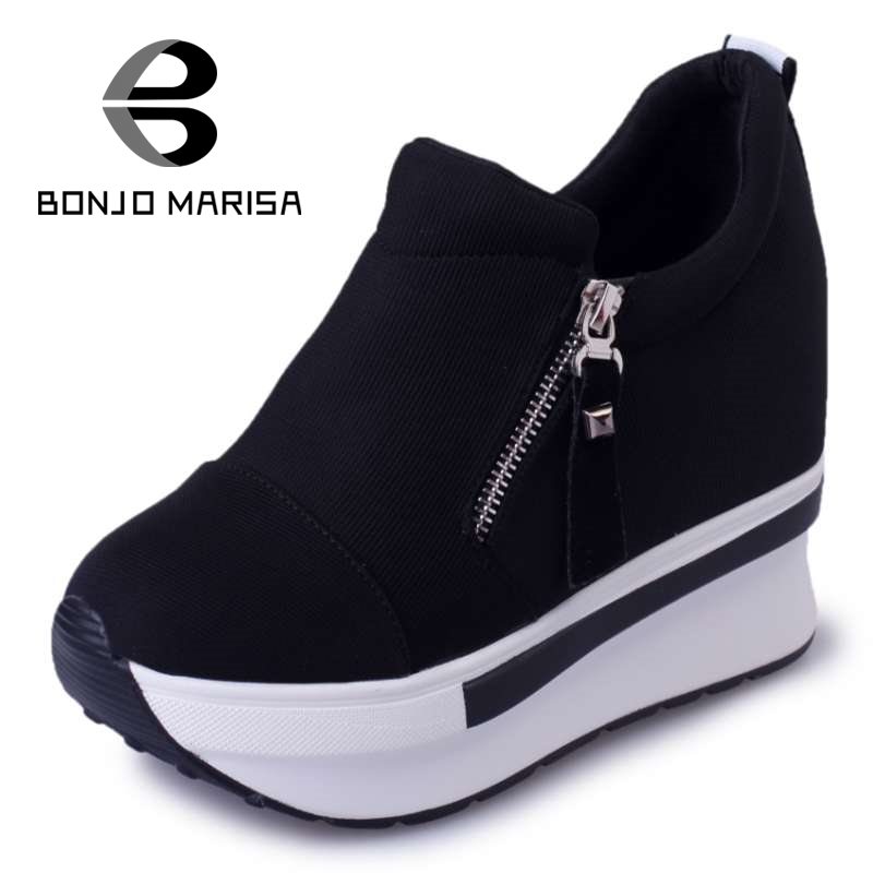 ФОТО BONJOMARISA 2017 Fashion Women Summer High Heel Wedge Shoes Woman Increased Internal Rivet Pumps Summer Ladies Spring Stiletto