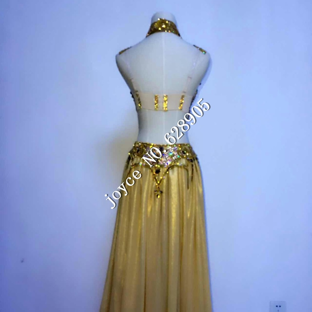 Stage wear Prom Sexy Sequin Gold Rhinestone Outfit Bra Short Skirt Crystal Design Party Dress Dj Female Singer Nightclub Costume