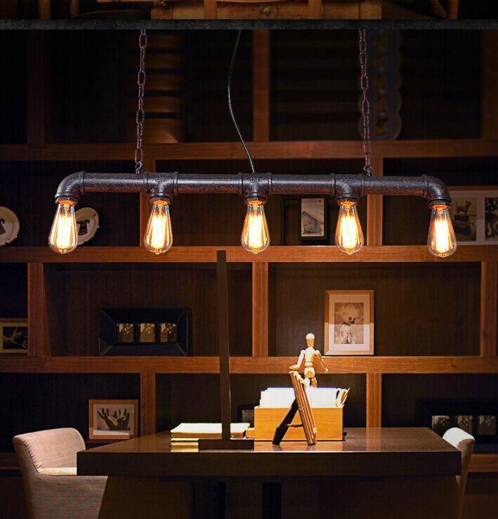 С лампами Эдисона, барная стойка для осветительных приборов на заказ, винтажные подвесные светильники, Подвесная лампа для водопровода для