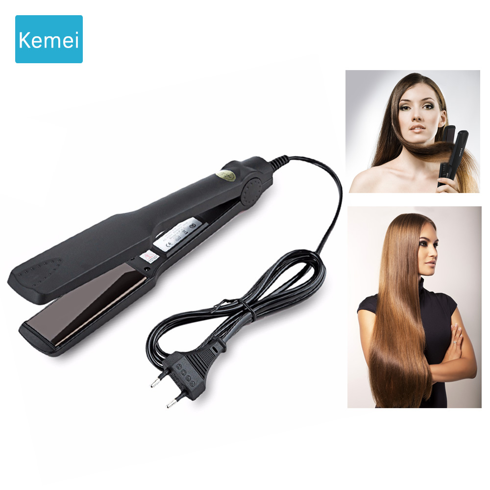 Kemei Professional hair straightener Hair care & styling tools straightening irons plate wafers Hair corrugation flat iron 5 ushow portable hair straightener hair styling straighteners 2 in 1 flat hair straightening irons corrugation hair soldering iron