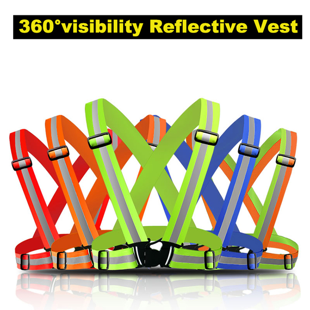 High Visibility Elastic and Adjustable Reflective running Gear neon yellow Reflective safety Vest belt for Running Cycling vest