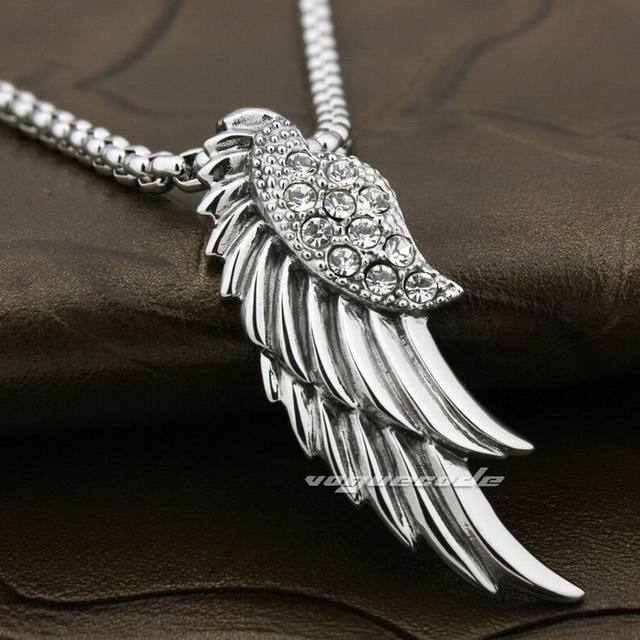 316L Stainless Steel Angel Wing CZ Stone Mens Biker Pendant 7D004(Necklace 24inch)