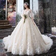 שמלת כלה בהריון אישה Vintage V צוואר חלוק Mariee Princesse אפליקצית רקמת דפוס Boho שיק חתונה שמלת TS869
