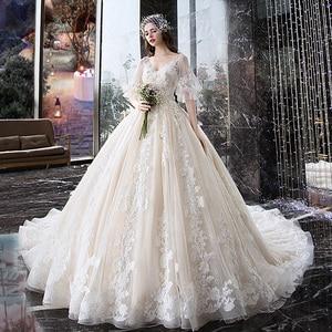 Image 1 - Wedding Dress For Pregnant Woman Vintage V Neck Robe Mariee Princesse Embroidery Applique Pattern Boho Chic Wedding Dress TS869