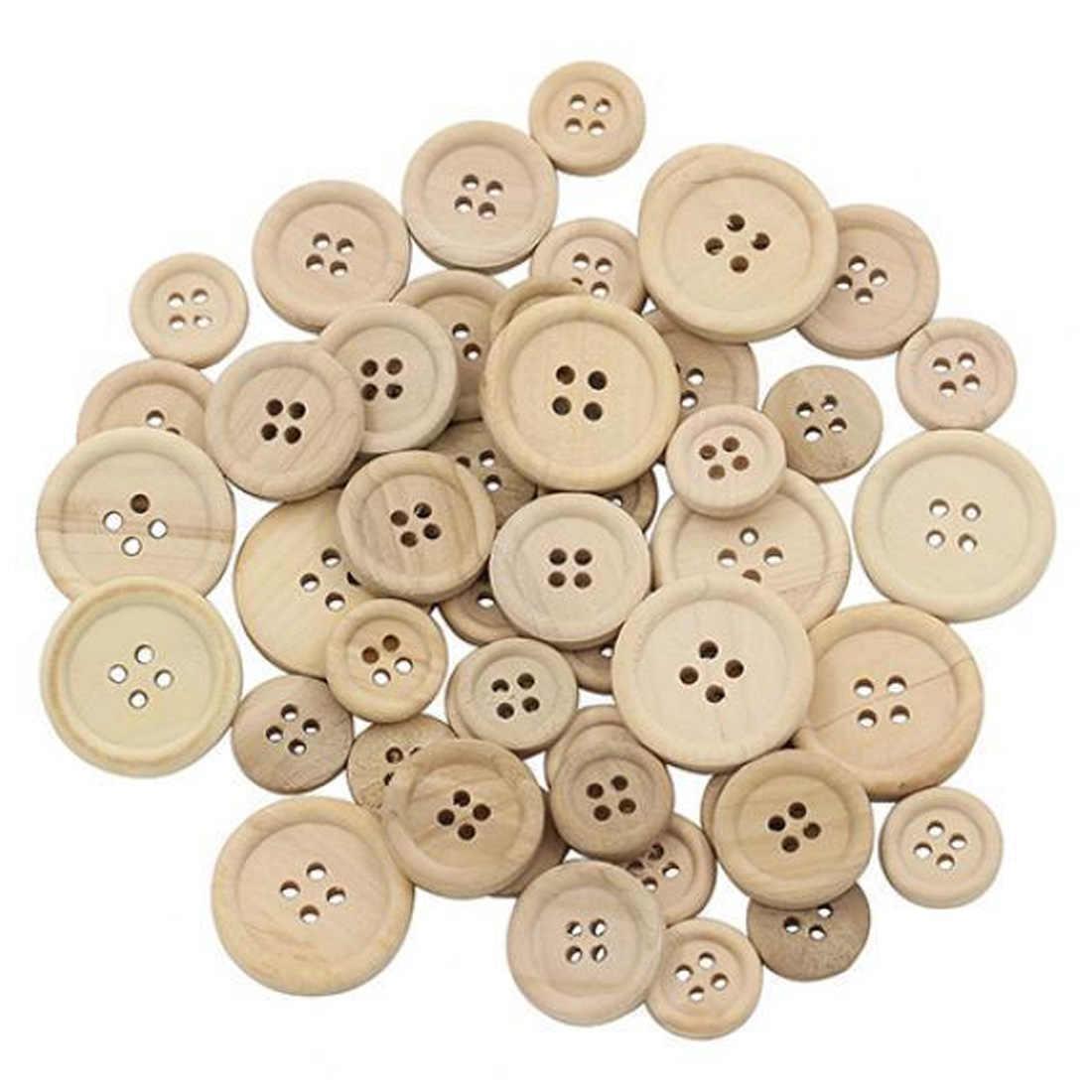 Botones de madera de 4 agujeros chatarra reserva botones álbum para ropa café Luz Color Natural coser botones