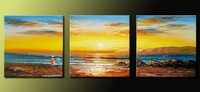 Handpainted 3 Piece Modern Decorative Oil Painting On Canvas Wall Art Sunset Beach Children For Home