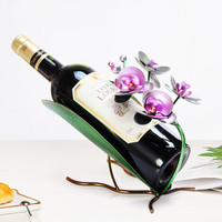 European Style Butterfly Orchid Lotus Green Iron Art Red Wine Rack Personality Wine Bottle Rack Wine Cabinet Ornaments X1094