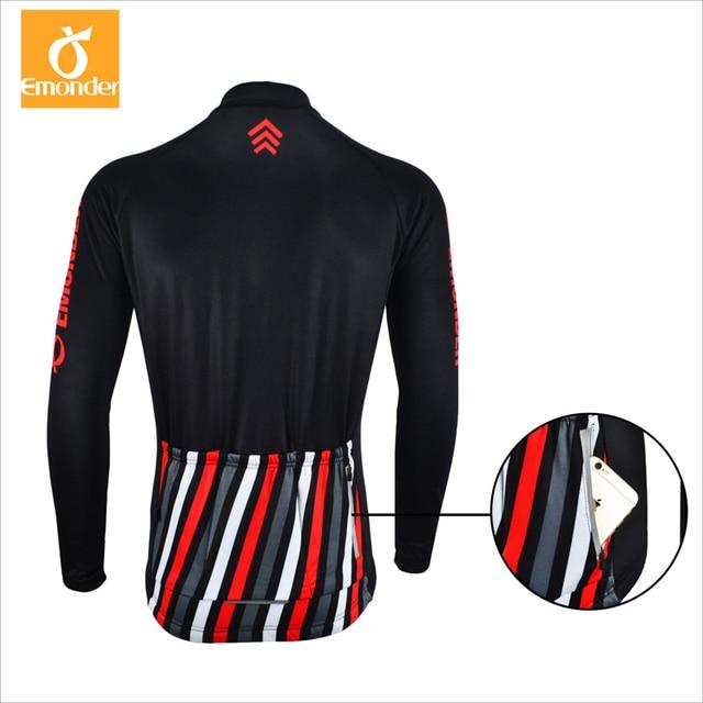 EMONDER Windproof Cycling Mens Fleece Cycling Jacket Keep Warm  Long Sleeve Sweatshirt Black Winter Autumn Spring  Cycling wear