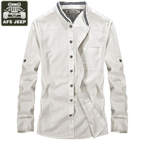 AFS JEEP Brand Mens Shirts Luxury Long Sleeves Shirt Men Solid Stand Collar Casual Shirts Men