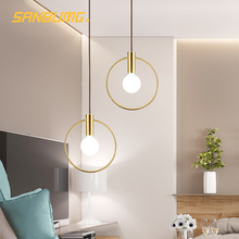 SANBUMG Nordic Modern Creative Ring Pendant Lights Golden E14 Base for Living Room Bedside Restaurant Hotel Porch Balcony Bar