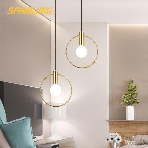 sanbumg nordic criativo moderno luzes pingente anel dourado e14 base para sala de estar de