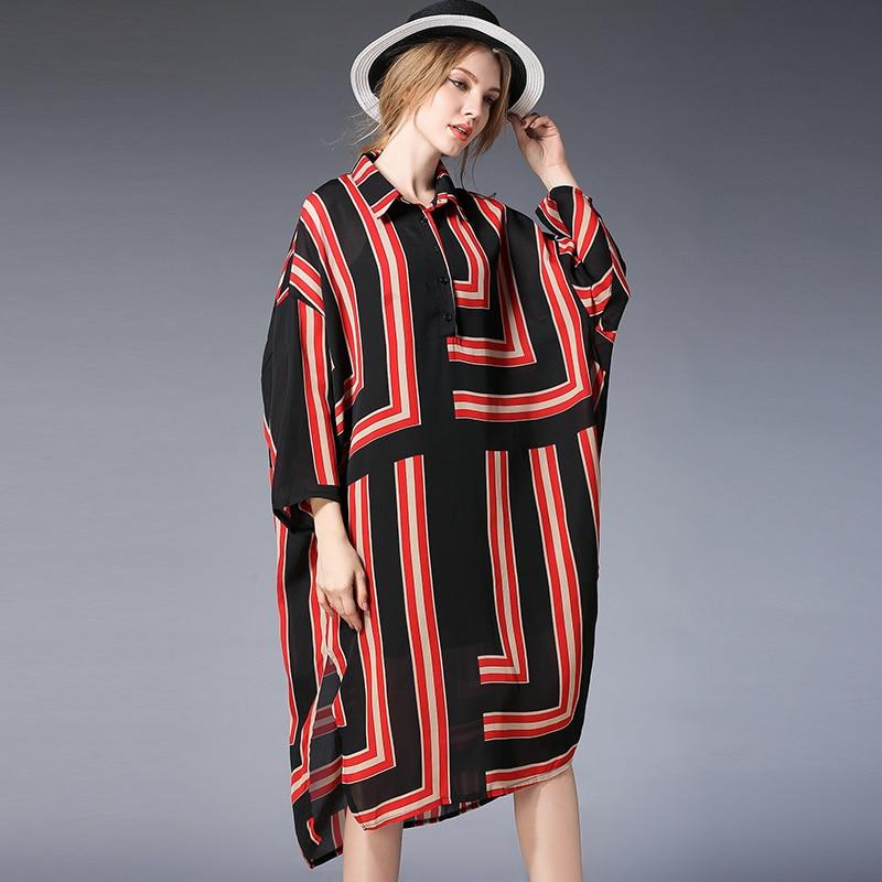 2019 spring women geometric print split dress plus size fashion design batwing sleeves women two pieces chiffon dress