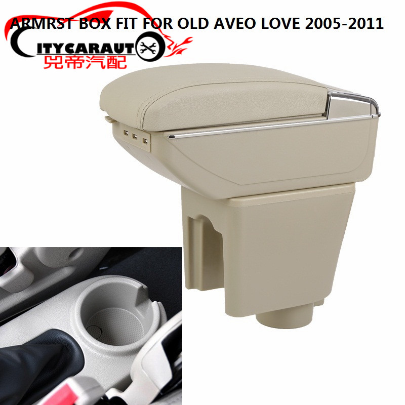 CITYCARAUTO central armrest SPACE+LUXURY+USB armrest box central Storage content box with cup holder USB FOR CHEVROLET AVEO LOVE