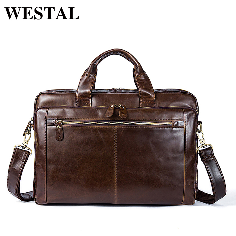 WESTAL Men Genuine Leather Handbags Laptop Crossbody Bag Shoulder Bags Briefcase Travel Messenger Bags Male Bag Portfolio 9207 business men briefcase handbags genuine leather men bag messenger bags shoulder crossbody bags leather laptop bag male