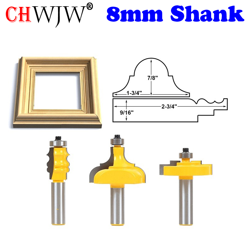 3pcs Picture Frame Router Bits - Complete Set - 1/2 Shank Line knife Woodworking cutter Tenon Cutter for Woodworking Tools core box router bits 3 pc set 1 4 shank line knife woodworking cutter tenon cutter for woodworking tools