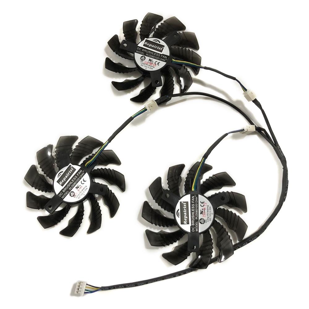 3 unids/set PLD08010S12H tarjeta GPU ventiladores para GIGABYTE GeForce GTX1080 Ti AORUS GTX 1060/1070 G1 juego tarjetas de Video enfriamiento