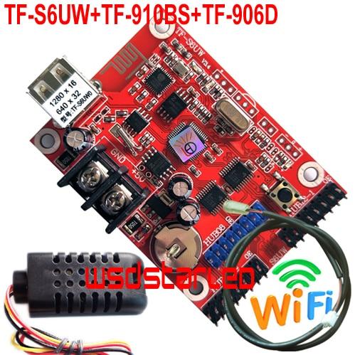 TF-S6UW + TF-910BS + TF-906D датчик яркости + датчик температуры и влажности USB + WIFI светодиодный и два цвета P10 светодиодная карта контроллера