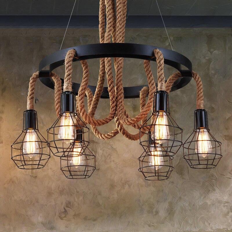 LukLoy Retro Corda di Canapa Industriale Lampade a sospensione LED ...