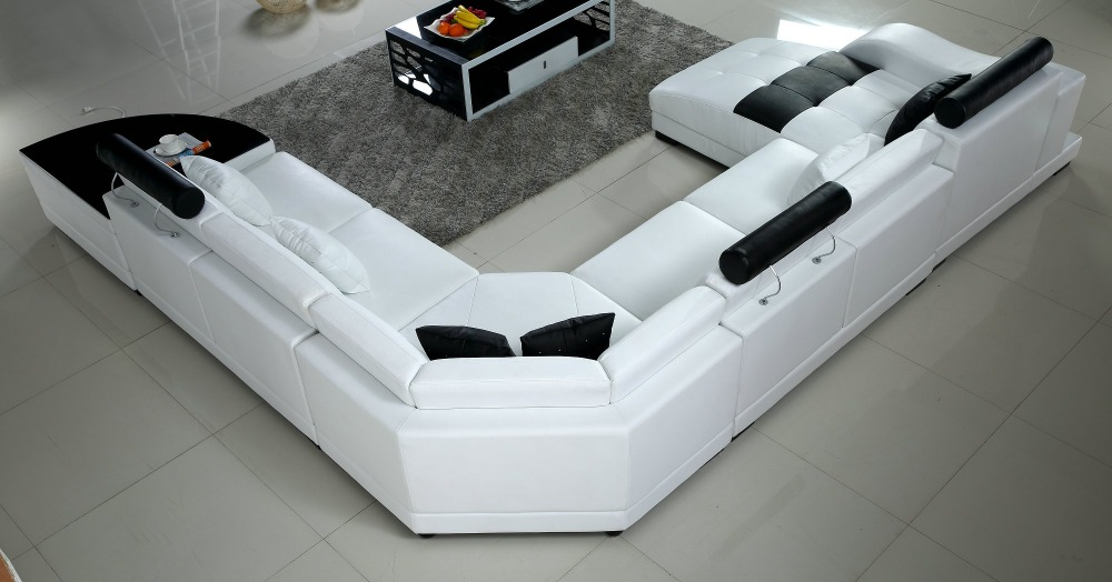 Lizz White Modular Sofa And Lounge U Shape Sofa Leather Sofa With Side  Coffee Table In Living Room Sofas From Furniture On Aliexpress.com |  Alibaba Group