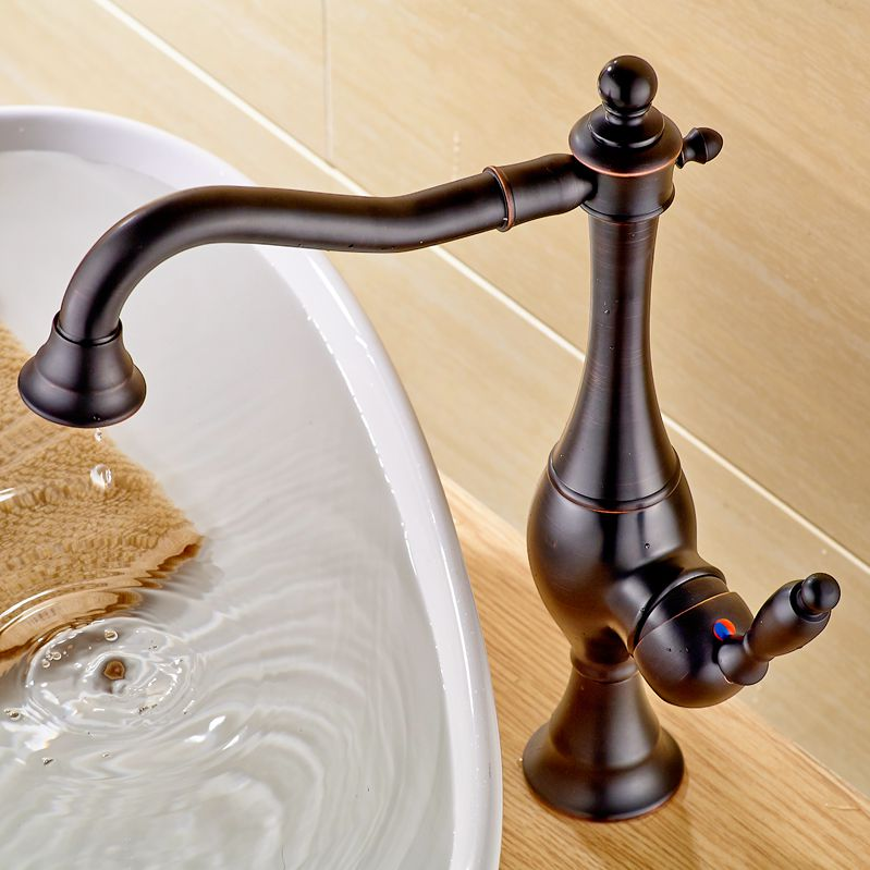 Bathroom Vessel Sink Faucet Oil Rubbed Bronze Basin Tap Waterfall ...