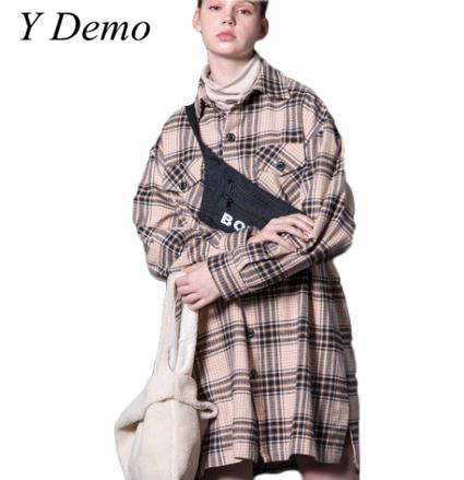 Vintage Retro Oversized Pocket Long Shirt Men Women Thickening Plaid Long Shirts