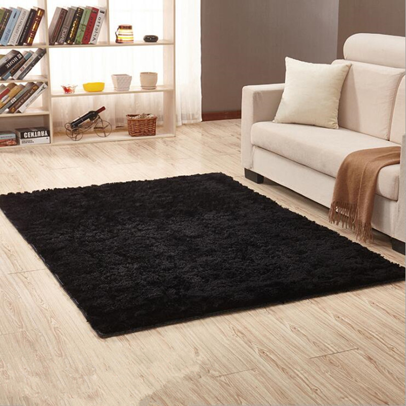 Black Soft Carpets Anti-skid Plush Hair Shaggy Carpet Faux Fur Area Rugs Floor Mats For Living Room Bedroom Alfombras