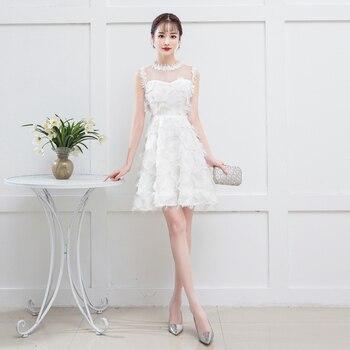 White Color Elegant Mini Dress  Bridemaid Women Wedding Party