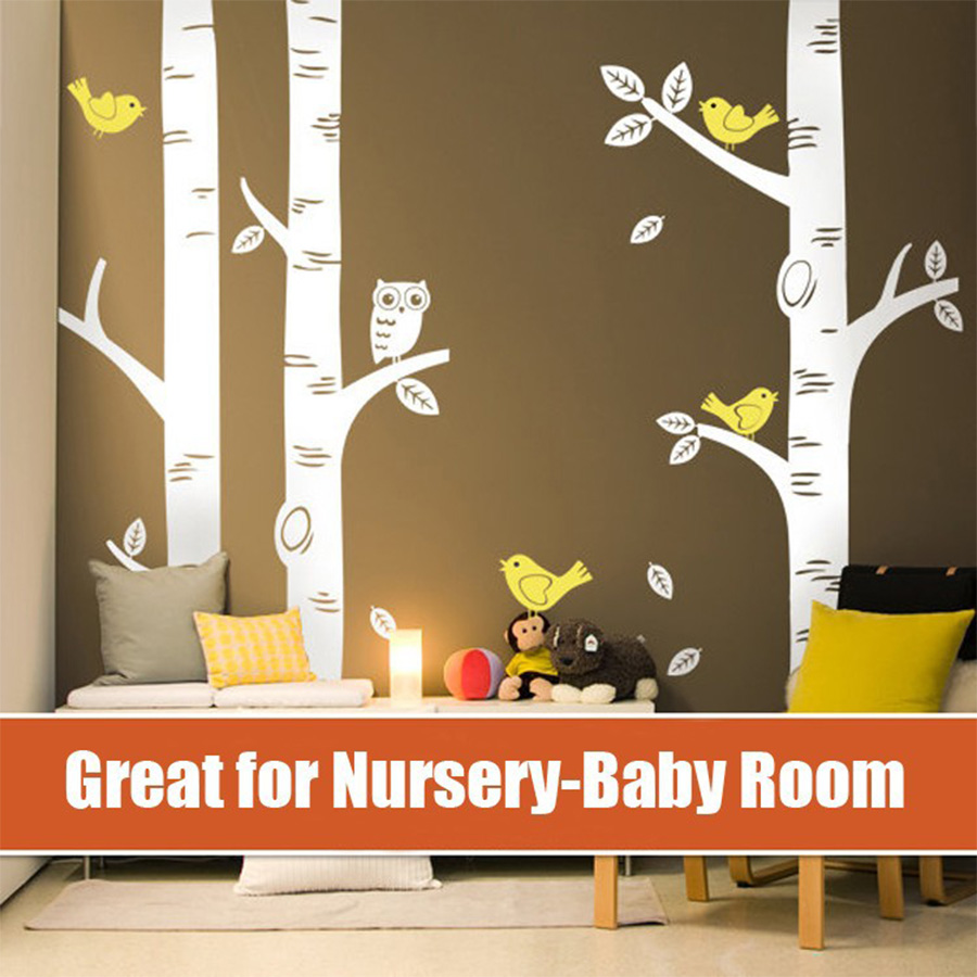 TOP Owl Birds Wall Sticker 3 Big Birch Tree Wall Decals Great For Nursery   Baby