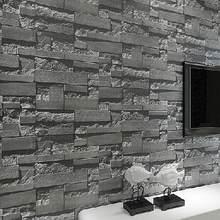 Moderne Gestapelte Ziegel 3d Stein Tapetenbahn Graue Ziegel Tapete Wand  Hintergrundbild Für Wohnzimmer Pvc Vinyl Wand