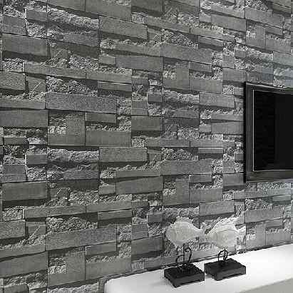Modern Stacked brick 3d stone wallpaper roll grey brick wallpaper wall background wallpaper for living room.jpg q50