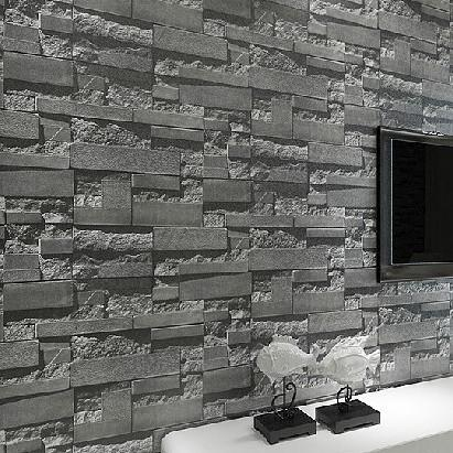 Online buy wholesale 3d stone wallpaper from china 3d for Grey brick wallpaper living room
