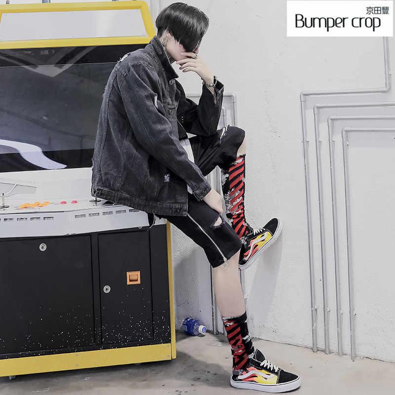 Натуральная bumpercrop верхняя одежда черные мужские Пальто повседневные короткие весенние 2019 ne стиль Свободные Turn-Down Воротник джинсовые куртки уличный хип