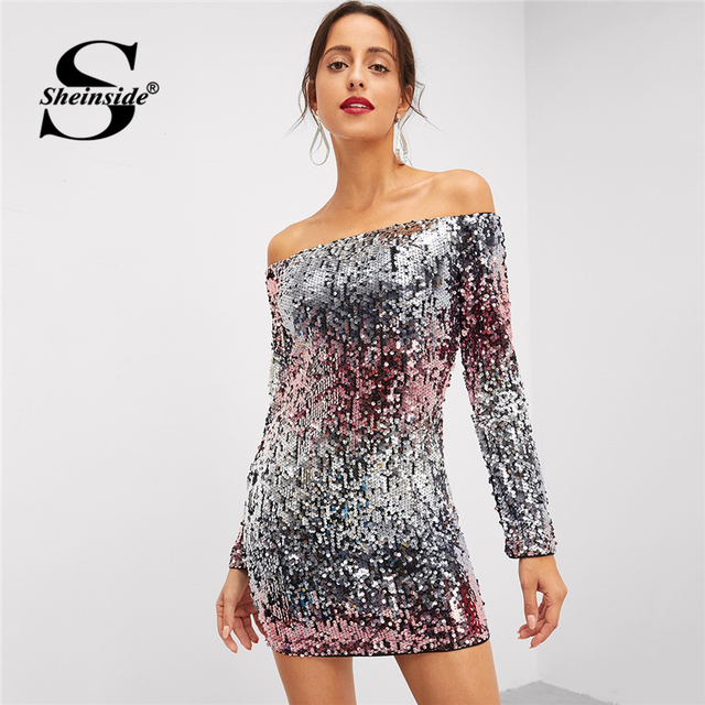 25fa638af65 Sheinside Silver Off Shoulder Ombre Sequin Dress Long Sleeve Ladies Bodycon  Mini Dresses 2018 Autumn Party