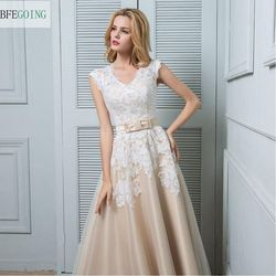 A-line Wedding Dress - Champagne Ankle-length V-neck Lace / Satin / Tulle  Custom made 4