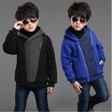 2018 boy jacket autumn winter New children's plus velvet coat children's clothing winter thickening hooded Korean men's jacket