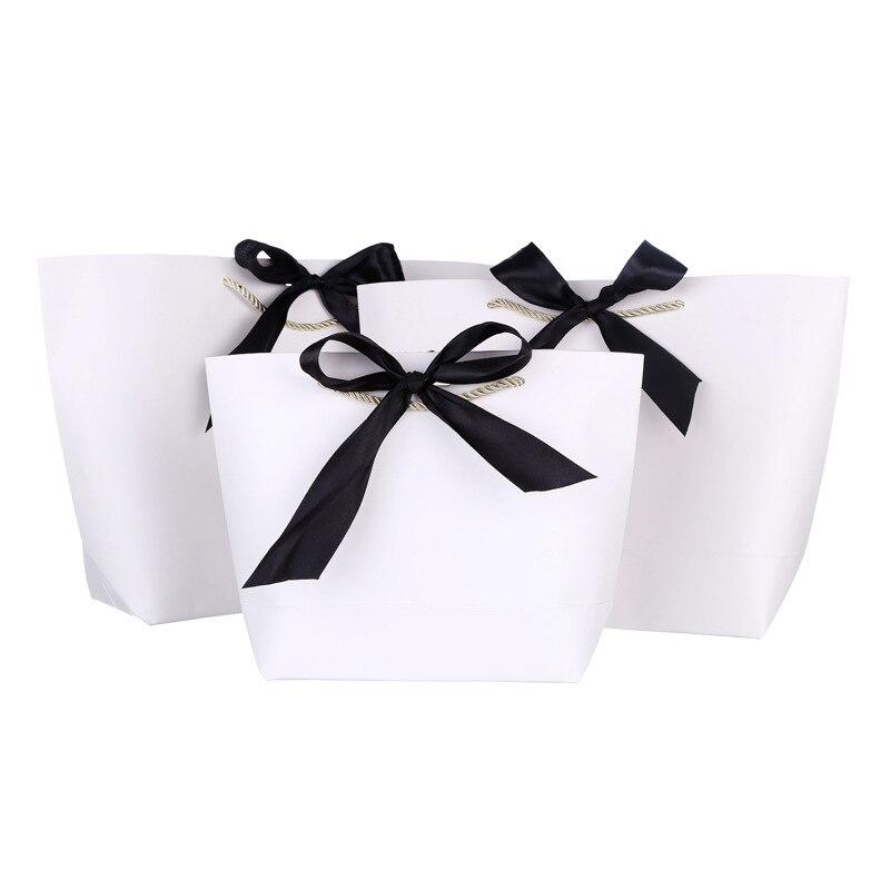 도매 500 개/몫 고품질 사용자 정의 로고 종이 쇼핑 가방 로고 리본 핸들/천/보석 토트 백-에서쇼핑백부터 수화물 & 가방 의  그룹 1