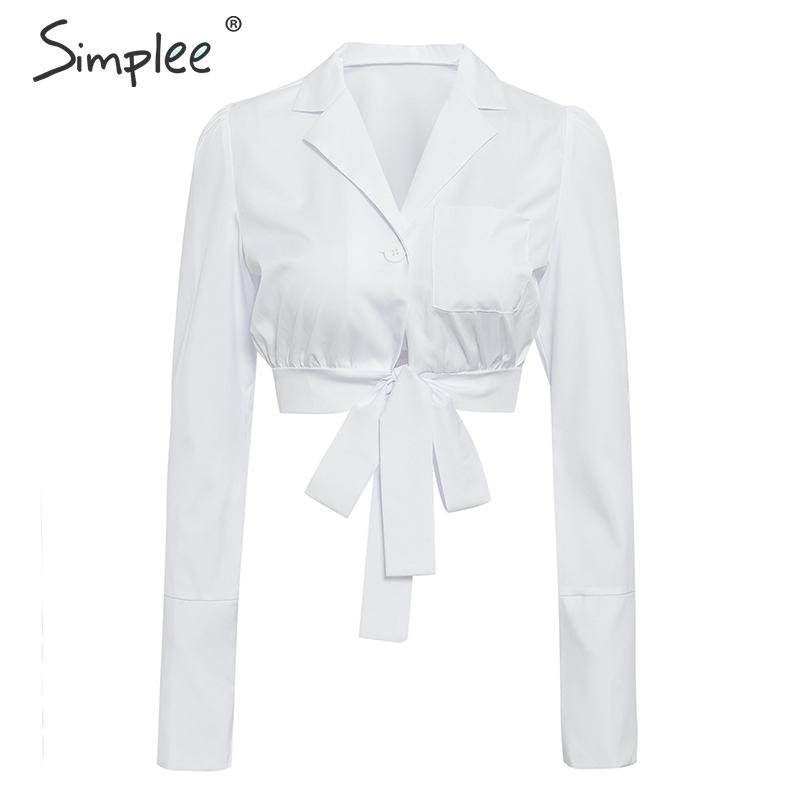 Simplee Sexy White Long Sleeve Women Shirt Lace Up Button 2019 Summer Blouses And Tops Streetwear Fashion Solid Ladies Crop Tops