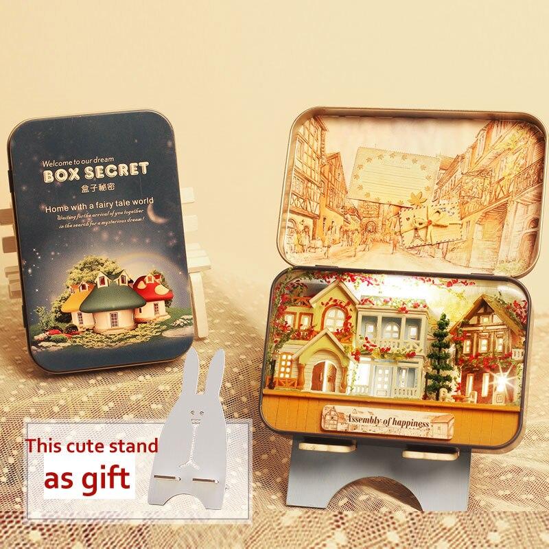 Миниатюрный Кукольный дом DIY деревянный кукольный домик коробка театр 3D кукольные домики наборы Модель Теплый светодиодный светильник для детей Рождественский подарок на день рождения