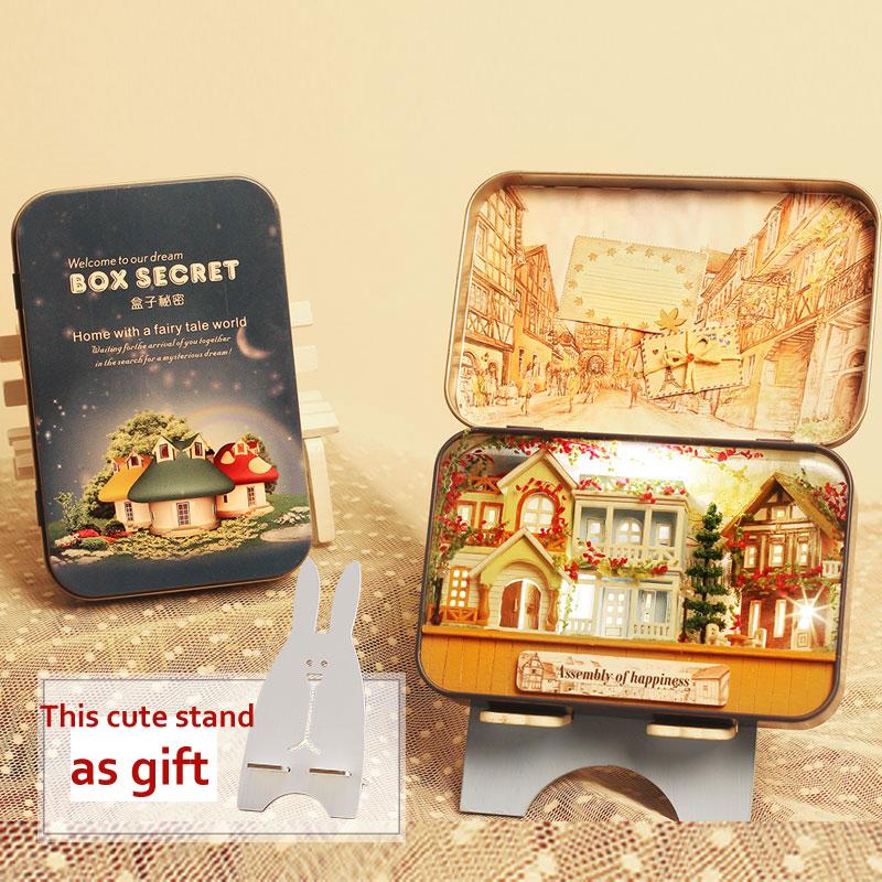 Miniatur Rumah Boneka DIY Kotak Kayu Dollhouse Theatre 3D Rumah - Boneka dan mainan lunak - Foto 1
