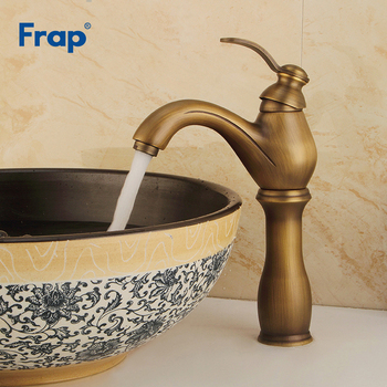 Frap Brushed Basin Faucets Brass Bathroom Faucet Gold Mixer Tap Single Handle Hot & Cold Washbasin Tap torneiras banheiro Y10072