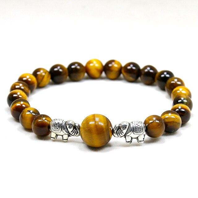 Bracelet Protection perle Oeil de Tigre et éléphant