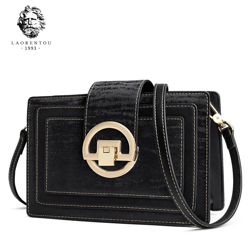 LAORENTOU shoulder bag 2018 new women's bag slung small square bag trend fashion wild retro ladies bag bag female 2018 new fashion sequins convenient bread bag chain small square bag shoulder slung dinner bag