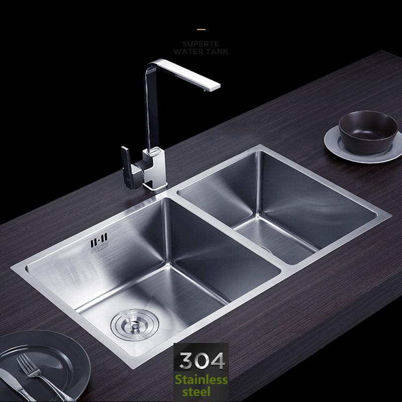 Handmade Kitchen Sink Stainless Steel Brushed Double Bowl Wire Drawing Process Seamless Welding Sinks 760x430mm Free Shipping