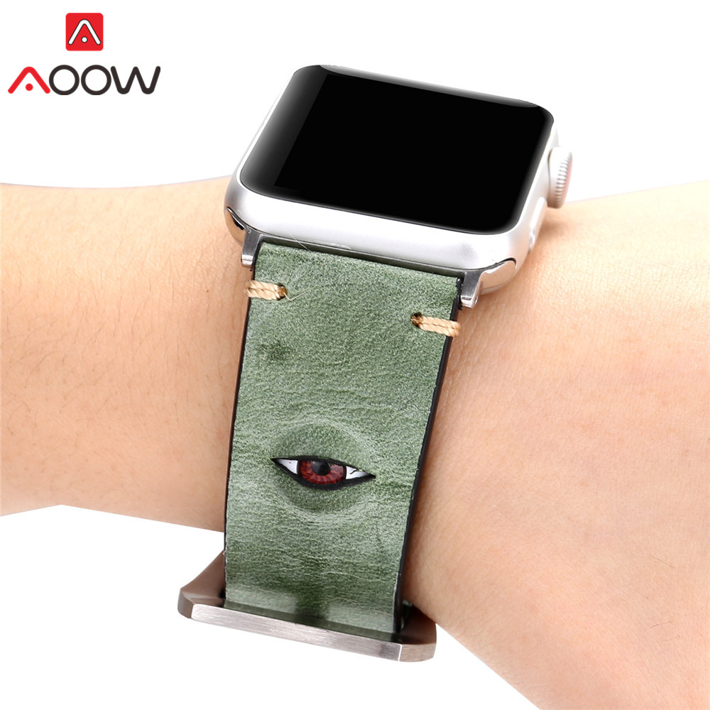 Green Genuine Leather Watchband For Apple Watch 38mm 42mm 3D Eye Deco Women Men Replacement Bracelet Strap Band for iwatch 1 2 3 eye pendent bracelet watch suitable for women