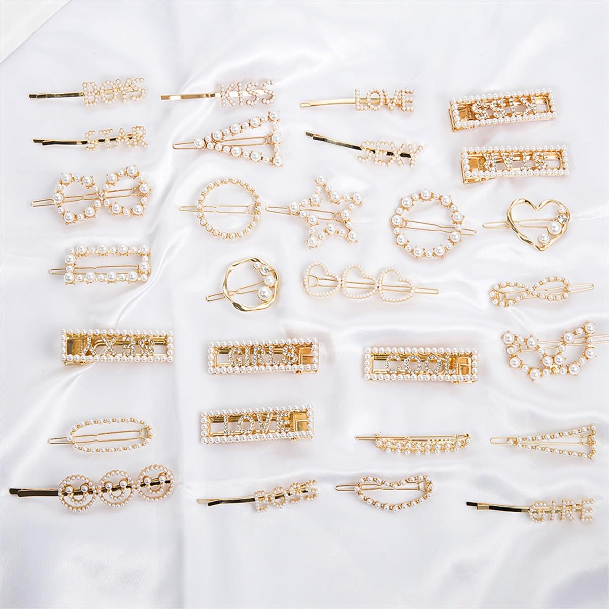 Horquillas coreanas de perlas simuladas de 29 estilos para mujer, boda elegante, horquilla de cristal para el pelo, herramientas de estilismo de belleza