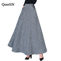 QoerliN Vintage Woolen Plaid Houndstooth Skirt Female 2018 Autumn Winter New Long Skirt Female High Waist Skirt Elastic Waist