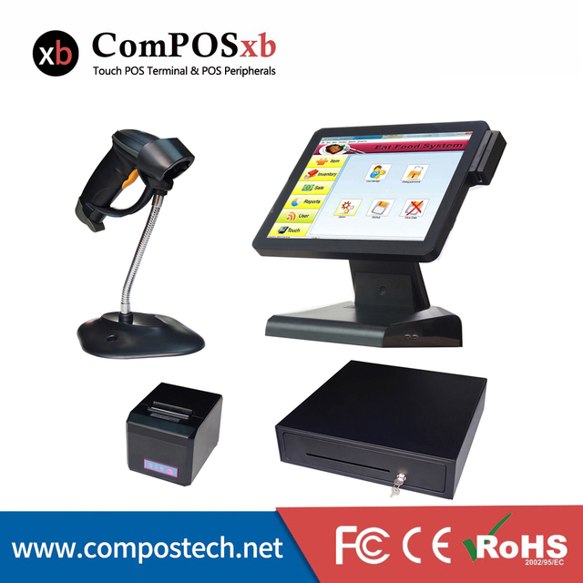 Best Price Whole set 15Inch cash machine POS system with MSR/code scanner/printer/cash drawer All In One Cash Register