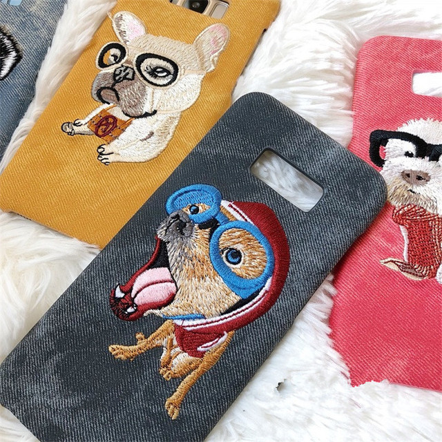 Lovely Dogs Embroidered Phone Case