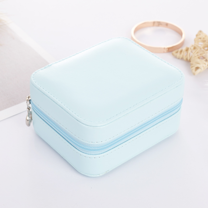 Travel Portable Jewelry Box Leather Earrings Storage Box Korean Candy Color High Quality PU Jewelry Holder Small Jewelry Casket in Jewelry Packaging Display from Jewelry Accessories